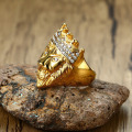 Venta al por mayor de Iced Out Jewelry Crystal Gold Lion Ring