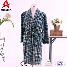 100% polyester men printed coral fleece bathrobe