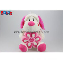 Lovely Cuddly Sitting Plush Puppy Animal Toy with Pink Flower Pillow Bos1164