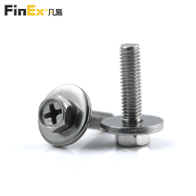SUS304 Phillips Hex Head SEMS Screws with Large Flat Washer