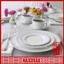 Conjunto de jantar de porcelana multa 4pcs, louça de porcelana branca