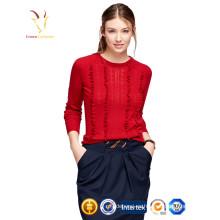 Suéter rojo de la moda de las señoras 100% suéter de la cachemira