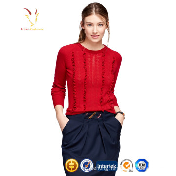 Ladies red fashion pullover 100% cashmere sweater