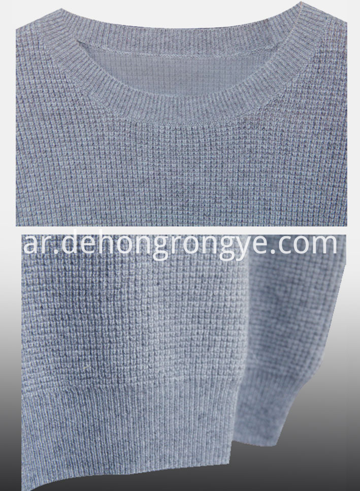 Gray blue round neck cashmere sweater