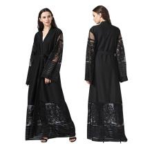 Premium polyester femmes robe dernière S-XL mode modeste dentelle noir abaya