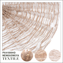 Tissu en dentelle perlé indien professionnel à la mode en polyester