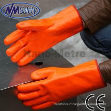 NMSAFETY orange manchette longue pvc entièrement manteau imperméable à l'eau gants de travail à la main