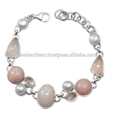 Pink Opal And Rose Quartz With Pearl Gemstone 925 Solid Silver Bracelet