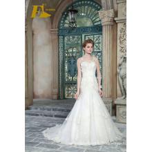 ЭД для новобрачных новый продукт V рукавов кружева шеи платье свадебные платья с бисером аппликация 2017