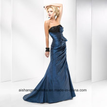 Women Satin Beading Sleeveless Sheath Evening Party Prom Dress