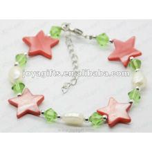 Fashion 2012 Joya Red Star Pearl Shell perlé Bracelet