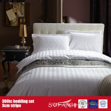 300TC 3cm Stripe en gros ensemble de literie Hôtel Bed Sheet Set