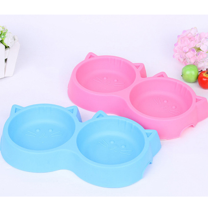 Pet-Products-Plastic-Cat-Face-Pet-Bowl-Environmental-Protection-Non-toxic-Dog-Food-Double-Bowl-Tableware (4)