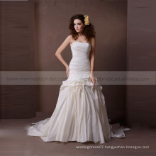 Fancy heart line exquisited ruffle shape mermaid tafetta wedding dress