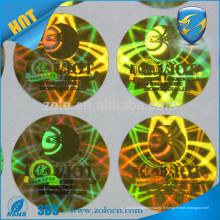 Protection de la marque hologrammes colorés Transfert total vide / sécurité résiduelle vide étiquette vide