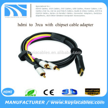 New High Quality HDMI TO 3RCA With chipset + usb power Cable adapter for PC HDTV available in 1M 1.5M 1.8M