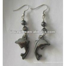 Boucles d'oreilles en perles de dauphins à l'hématite magnétique