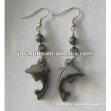 Magnetic Hematite Dolphin Beads Earrings