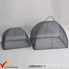 Set 2 Handcraft Vintage Gris Metal alambre de alimentos de malla de cubiertas