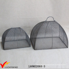 Set 2 Handcraft Vintage Gray Metal Wire Mesh Food Covers