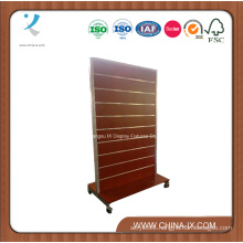 Double Sided Wooden Slatwall Display Shelf with Castors