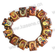 Wholesale Cheap Coffee Wood Bead Rosary Bangle with Saint Picture