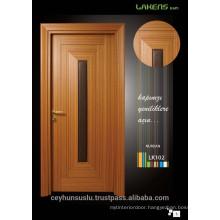2017 Design Wooden Molded Teak Interior Door with Centered Leather Design