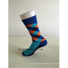 Factory Supplier Customize High Quality Diamond Lattice Style Men`S Socks