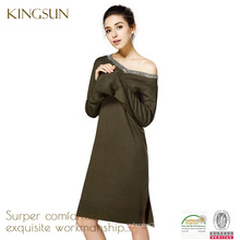 Women 100% merino wool dress, Long Sleeve dress