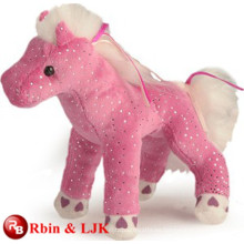 ICTI Auditado Fábrica de peluche de color rosa musical caballo de juguete