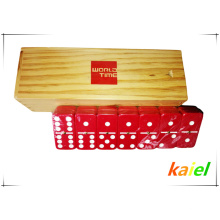 Double 6 plastic red domino wholesale in wooden box
