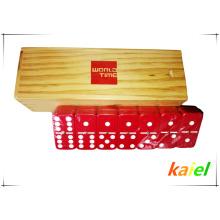 Duplo 6 plástico vermelho dominó atacado em caixa de madeira