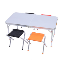 Holiday Weekend Outdoor Adjustable Foldable Aluminum Camping Table With 4 Chairs