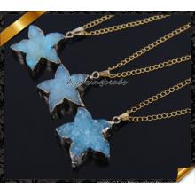 Мода Оптовые Crystal природный камень Blue Druzy Ожерелье для подарка девушки (CN015)