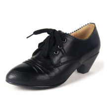 Black Classical Leather Women Shoes with Chuncky Heels and Lace