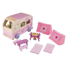 Rosa Lustige Kinder Hölzerne Camping BBQ Miniatur Möbel für Modell