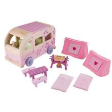 Pink Funny Kids Wooden Camping BBQ Meubles miniatures pour modèle