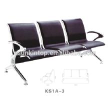 Silla de aeropuerto con tres asientos, apoyabrazos y patas de aluminio, diseño de asiento de cuero PU (KS1A-3)