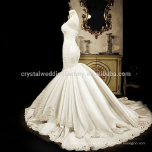 Real Photos New Luxury Bead 2017 Sweetheart Sweetheart Satin Mermaid Wedding Bridal Dresses MW969