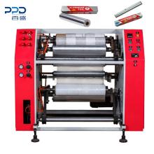 Semi auto stretch film rewind PE /PVC stretch film slitter rewinder machine