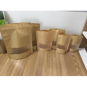 Kraft Paper Stand Up With Pouch With Window