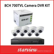 8CH DVR Kits + 700tvl Sony CCD cámaras domo de interior