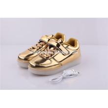 Unisex filles garçons USB charge de lumière clignotant or LED chaussures de sport pour enfants