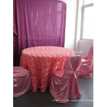 Rosa cubierta de tabla, lino de tabla, paño de mesa de jardín, tela del satén