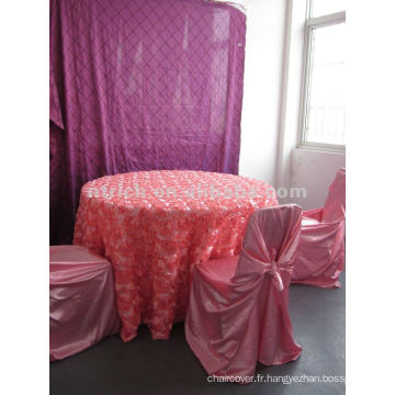 Rose de couverture de table, linge de table, linge de table de jardin, tissu satin
