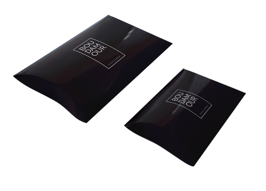 New Printing Logo black matte coated paper pillow boxes