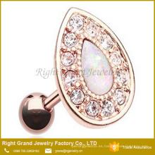 Acero inoxidable chapado en oro Multi cristal Jewelled Oval Sythetic Fire Opal Cartílago Tragus Pendiente piercing