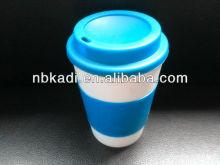 12oz mug double wall plastic mug with sleeve wrap PP material cup for kids