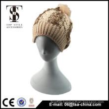 brown grey iceland chunky knit jacquard winter hat with pom-pom