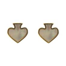 Mother Of Pearl Shell Heart Stud Earrings